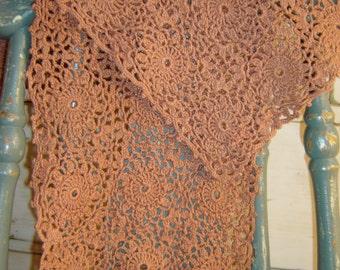Pair of Vintage Hand Crocheted Cotton Terra Cotta Rectangular Dresser Scarves