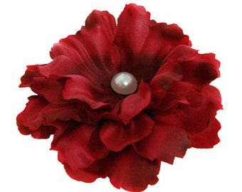 Red Peony flower Hair Clip with Pin brooch