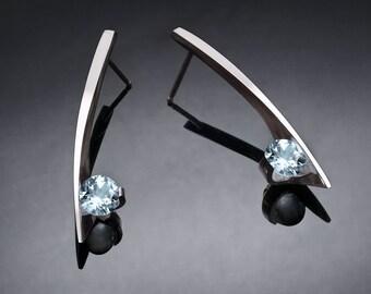 aquamarine earrings, March birthstone, fine jewelry, wedding earrings, Argentium silver, modern earrings, contemporary jewelry - 2458
