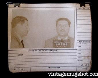 1957 MUG SHOT Allegheny County  Pa Police Criminal BURGLAR Man With Pencil Thin Mustache