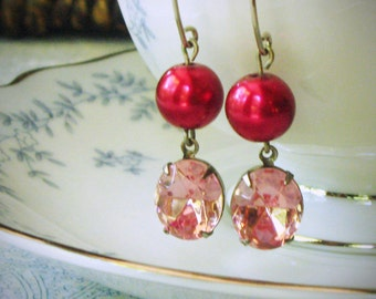 Rose Pink and Red Pearl Dangle Earrings, Rhinestone, Swarovski, Drop Earrings, Ruby