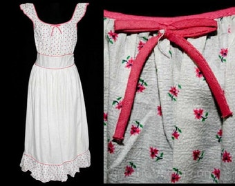 XL 1940s Pink Daisy Print Nightgown - 40s Summer Cotton Nightie - White Floral Cotton - Size 16 - Waist 32 to 36 - Never Worn - 38749-1