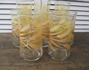 libbeys wheat patterened glassware 2 sizes set of 8 farmhouse rustic fall decor