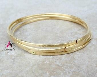 Gold bangles set, brass bangles bracelets, stackable bangles, handmade bangles, unique bangle set, womens bracelets, gold bracelets set