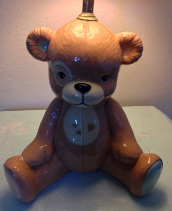 Adorable Vintage Bear Lamp Handpainted For 1980 S Boy Or