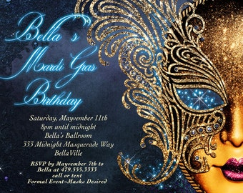 Masquerade Invitation, Mardi Gras Invitation, Masquerade Party, Masquerade Invitation, Mardi Gras Party