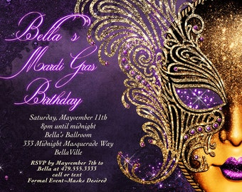 Masquerade Invitation, Mardi Gras Invitation, Masquerade Party, Masquerade Invitation, Mardi Gras Party