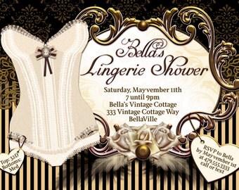 Lingerie Shower Invitation Bachelorette Party Invitations, Hen Party Invites