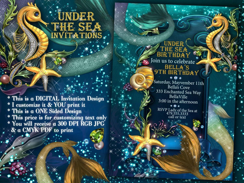 mermaid mermaid invitations mermaid party under the sea. Black Bedroom Furniture Sets. Home Design Ideas
