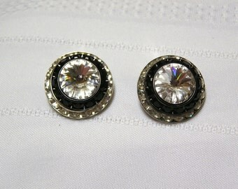 Vintage Mistar Bijoux black and white rhinestone clip earrings