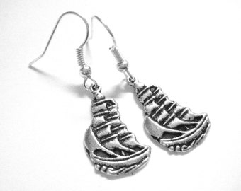 Female Pirate Costume Accessory - Pirate Lolita Jewelry - Steampunk Pirate Earrings - Sterling Silver or Clip On Earrings 158