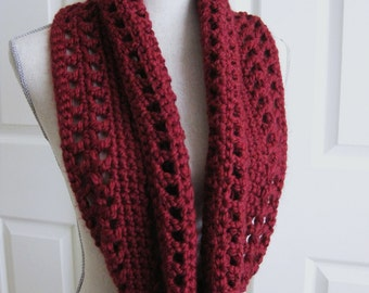 Crocheted Cowl Scarf-Infinity-Rose Red - Crochet Red Cowl - Crocheted Circle Scarf - Red Infinity Scarf - Rose Cowl Scarf