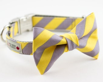 Yellow Grey Stripe Bowtie Dog Collar