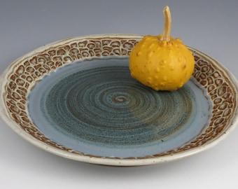 Serving Platter blue with cobblestone rim
