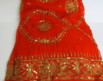 Vintage 1970s Sari - High End Orange Sari - Beautifully Crafted with Exquisite Sequin Details - Never Worn
