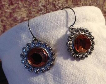 Auburn Orange Brown Sparkling Dangle Earrings
