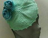 1920s Wedding  Green Mini Hats ,Crochet Women  Fascinator Green   ,Bridal Accessory Slouchy  Green