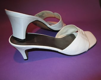 Vintage White Leather Heels/Sandals by Impo, Size 7 1/2 B