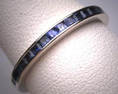 Antique Sapphire Eternity Band Ring Vintage Art Deco WGold 8.5 RARE Size