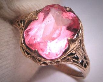 Antique Pink Sapphire French Paste Ring Art Deco 1920