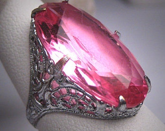 Antique Pink Sapphire Paste Ring Vintage Art Deco 1920s