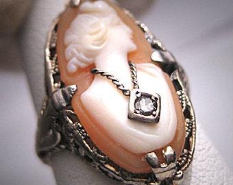 Antique Neo Classic Cameo Diamond Ring Art Deco 14K White Gold Vintage Wedding