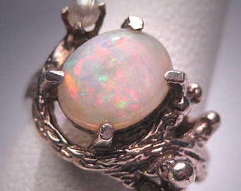 Antique Vintage Australian Opal Pearl Ring Wedding Deco