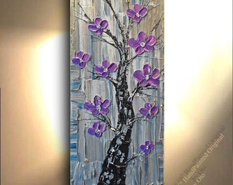 ORIGINAL 40x16 Blues Gold Purple Cream Silver Birch tree Aspen Abstract Art painting tree flower Large Modern Contemporary Painting by OTO