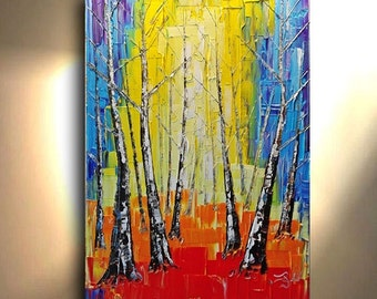 ORIGINAL Colorful Painting Birch Tree Aspen Pop Bright Abstract Art painting Birch Tree flower Large Modern Contemporary Painting by OTO