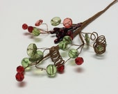 Artificial Flowers - Acrylic Bead Spray with Pip Berries - Crystal Bead Pick