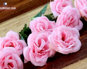 18 Pink Mini Roses (Two Sets of Nine) On SHORT STEMS - Small Flowers - Artificial Flowers, Flower Crowns