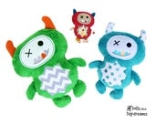 In The Hoop Monster Embroidery Machine ITH Stuffie Pattern Softie Plush Toy DIY Quick Easy