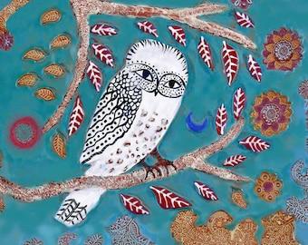 Owl Tile, Clay Wall Art, Owl Art, Blue Moon, Ceramic Tile, Decorative Tiles, Art Tiles, Animal Art, Bird Art, Colorful Tiles, Ceramic Tiles