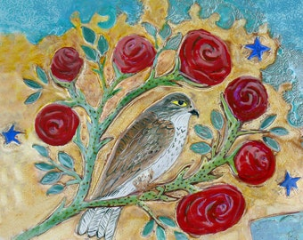 Falcon and Roses  Ceramic Tile, clay wall art,  6x6 ceramic tile