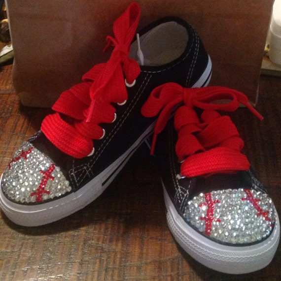 youth baseball blinged tennis shoes