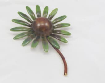 Vintage Flower Brooch Made by Robert Jewelry  Brown Green Flower Pendant Daisy
