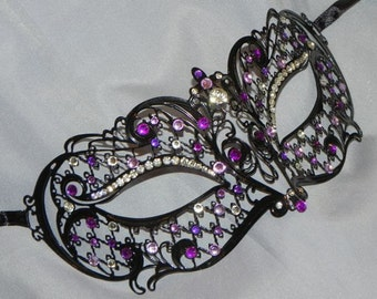Metallic Lattice Filigree Masquerade Mask with Purple Accents
