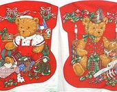 Christmas morning bears - pair - stocking fabric panel