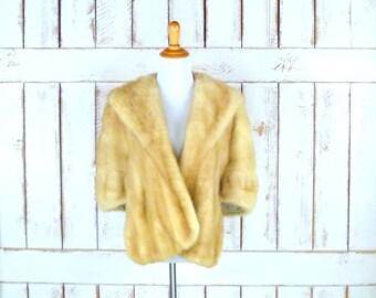Vintage blonde mink fur stole wrap/40s/50s mink capelet/caplet/bridal/wedding wrap