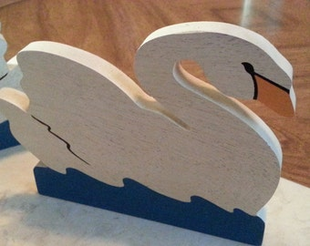 Vintage Swimming Swan Book Ends Wooden Painted 1980s Bird