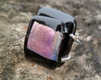 Dichroic glass ring. Handmade ring. Adjustable ring. Fused glass ring. Dichroic glass. Fused glass jewelry. Tack fused  ring.