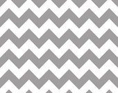 Riley Blake Fabric - Half Yard of Medium Chevron Laminate in Gray