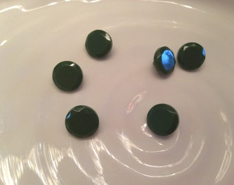 All the same - 6 vintage green plastic shank buttons