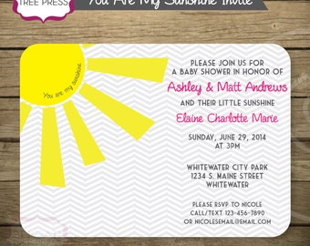 My Little Sunshine Invitations - Printable