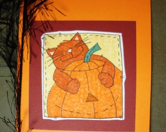 Happy Halloween Card - Cat and Pumpkin