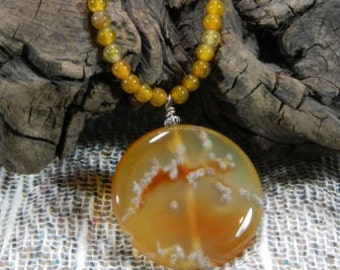 """Yellow green brown agate pendant necklace 16"""" long semiprecious stone jewelry packaged in a gift bag 10570"""