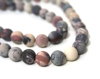 Matte Porcelain Jasper beads, 10mm round natural Terra Rosa Jasper, full & half strands available  (617S)