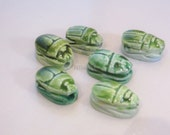 6 Egyptian Scarab Pendants Beads glazed Carved hieroglyphics Small for jewelry