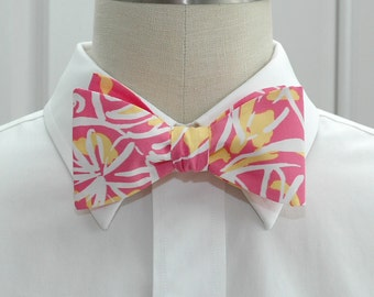 Lilly Bow Tie in pink and yellow Fruity (self-tie)