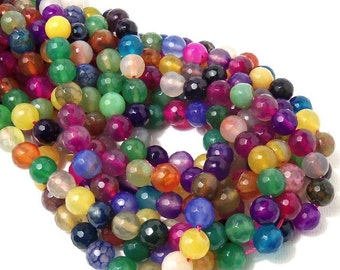 Rainbow Fired Agate, 8mm, Round, Faceted, Multi Colored, Gemstone Beads, Small, Full Strand, 48pcs - ID 1905